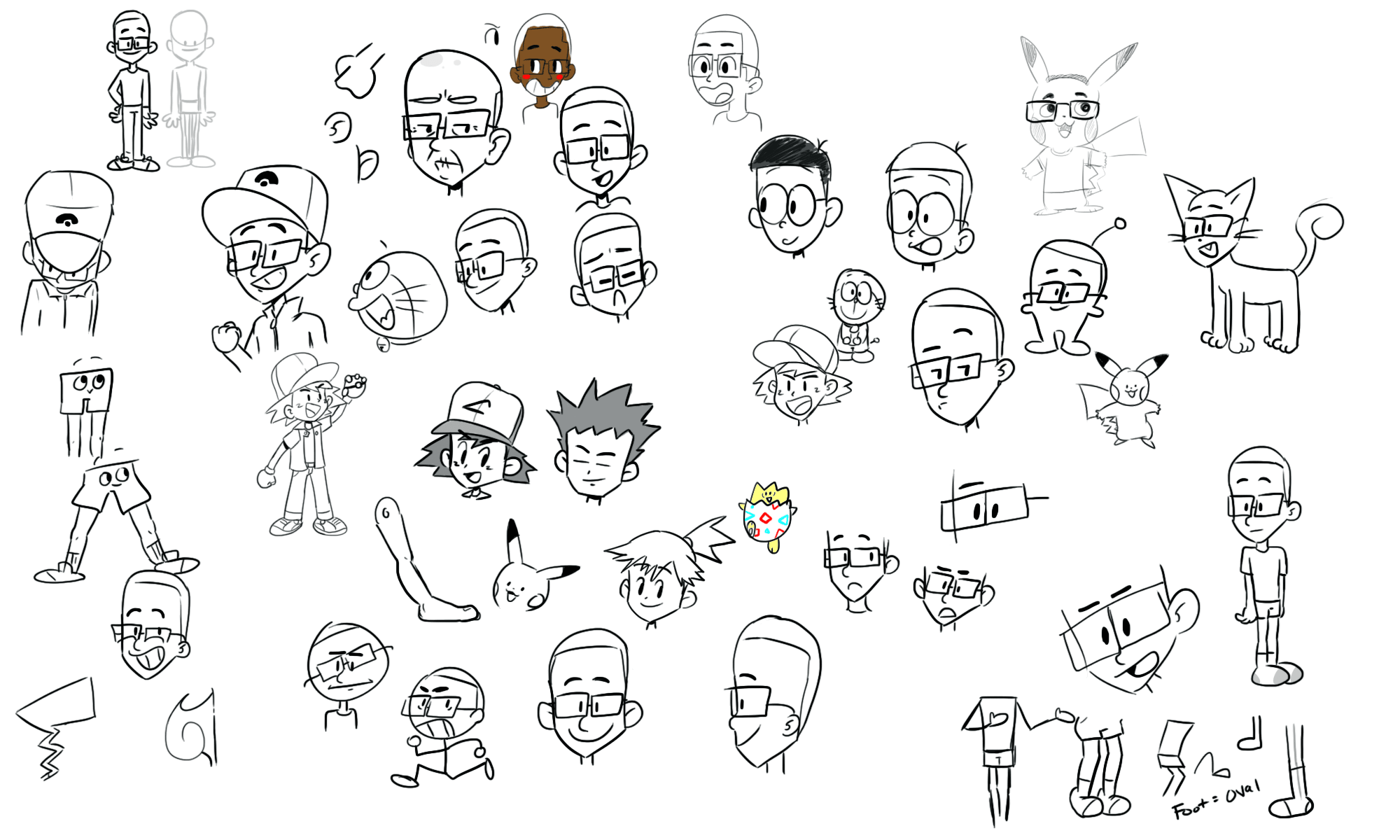 Ash and Friends Drawings 12/16/17